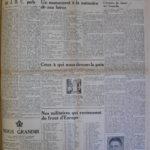 Journal Le Peuple, le 18 mai 1945, page 1 Collection Centre d'histoire de Montmagny