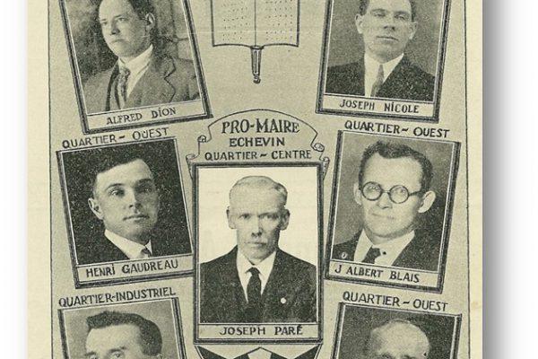 L'équipe de conseillers sous l'autorité du maire Raoul Bélanger.