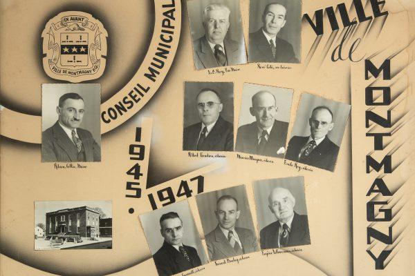 Le conseil municipal de 1945 à 1947.  Maire: Adrien Collin. Conseillers: Louis. O Roy, Gérard Boulay, Antonin Casault, Albert Gendron, Eugène Létourneau, Maurice Marquis, Émile Roy. Greffier: René Côté.