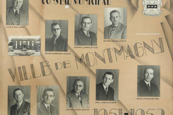 Le conseil municipal de 1951 à 1953. Maire: Louis-O. Roy. Conseillers: Jean-Marie Corneau, Patrice Corriveau, Arthur Lacroix, Wilbrod Landry, Wilfrid Leblanc, Paul Lemieux, Hervé Vézina. Greffier: René Côté.