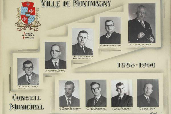 Le conseil municipal de 1958 à 1960. Maire: Louis-O. Roy. Conseillers: Roméo Caron, Adolphe Corneau, Patrice Corriveau, Marcel Desjardins, Léo Laberge, Robert Morin, Laurent Paquet. Greffier: René Côté.