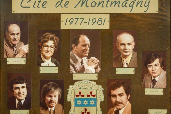 Le conseil municipal de 1977 à 1981. Maire: Cajetan Gauthier. Conseillers: Gabrielle R. Denault, Claude Audet, Rodrigue Godbout, François Gosselin, Jean Laberge, Paul Simoneau. Greffier: Jacques Pelletier.