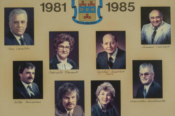 Le conseil municipal de 1981 à 1985. Maire: Cajetan Gauthier. Conseillers: Gabrielle R. Denault, France Nicole, Jean Lavallée, Armand Labrecque, Gilles Corriveau, Marcellin Guillemette. Greffier Jacques Pelletier.