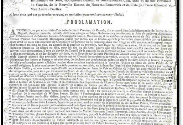 Le 13 octobre 1845, Montmagny est incorporée en municipalité de village, par le baron Charles Théophilius Metcalfe.